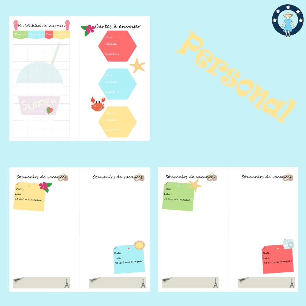 Kit Pages À Imprimer Vacances Pour Planner Personal Choses À Amener,  Souvenirs, Budget, Adresses, Wishlist, Lieux À Visiter pour Carnet De Vacances À Imprimer
