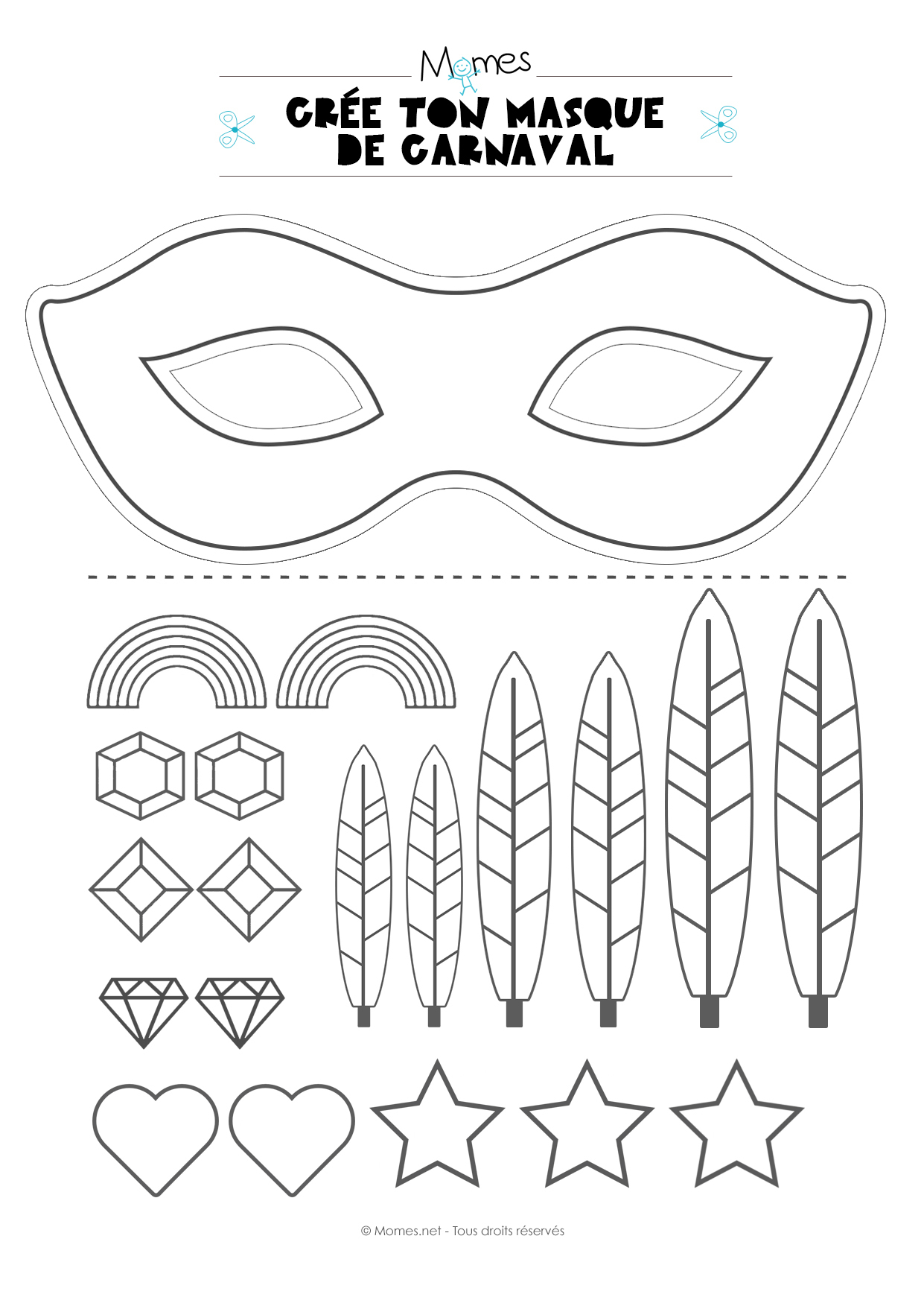 Kit Pour Faire Un Masque De Carnaval - Momes serapportantà Masque Enfant A Colorier