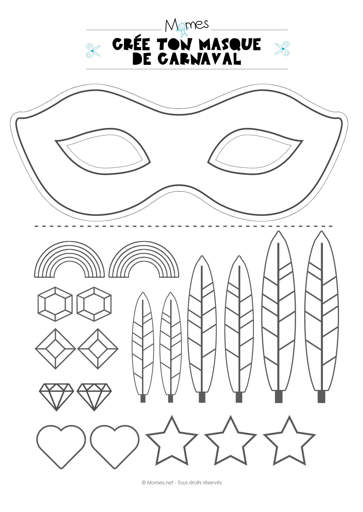 Kit Pour Faire Un Masque De Carnaval - Momes serapportantà Masque Loup A Colorier