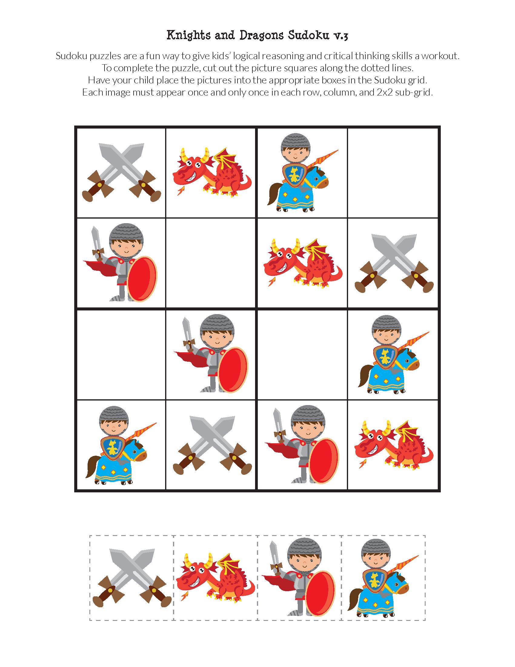 Knights And Dragons Sudoku Puzzles | Jeux A Imprimer pour Sudoku Maternelle À Imprimer