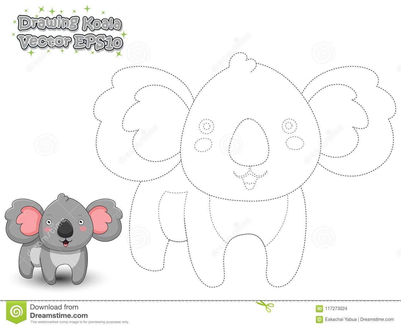 Koala Mignon De Bande Dessinée De Dessin Et De Peinture Jeu à Dessin En Pointillé