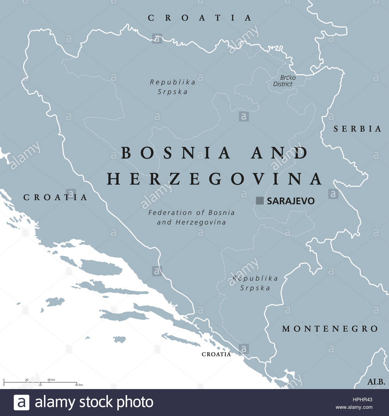 La Bosnie-Et-Herzégovine Sarajevo, Capitale De La Carte intérieur Pays Et Capitales D Europe