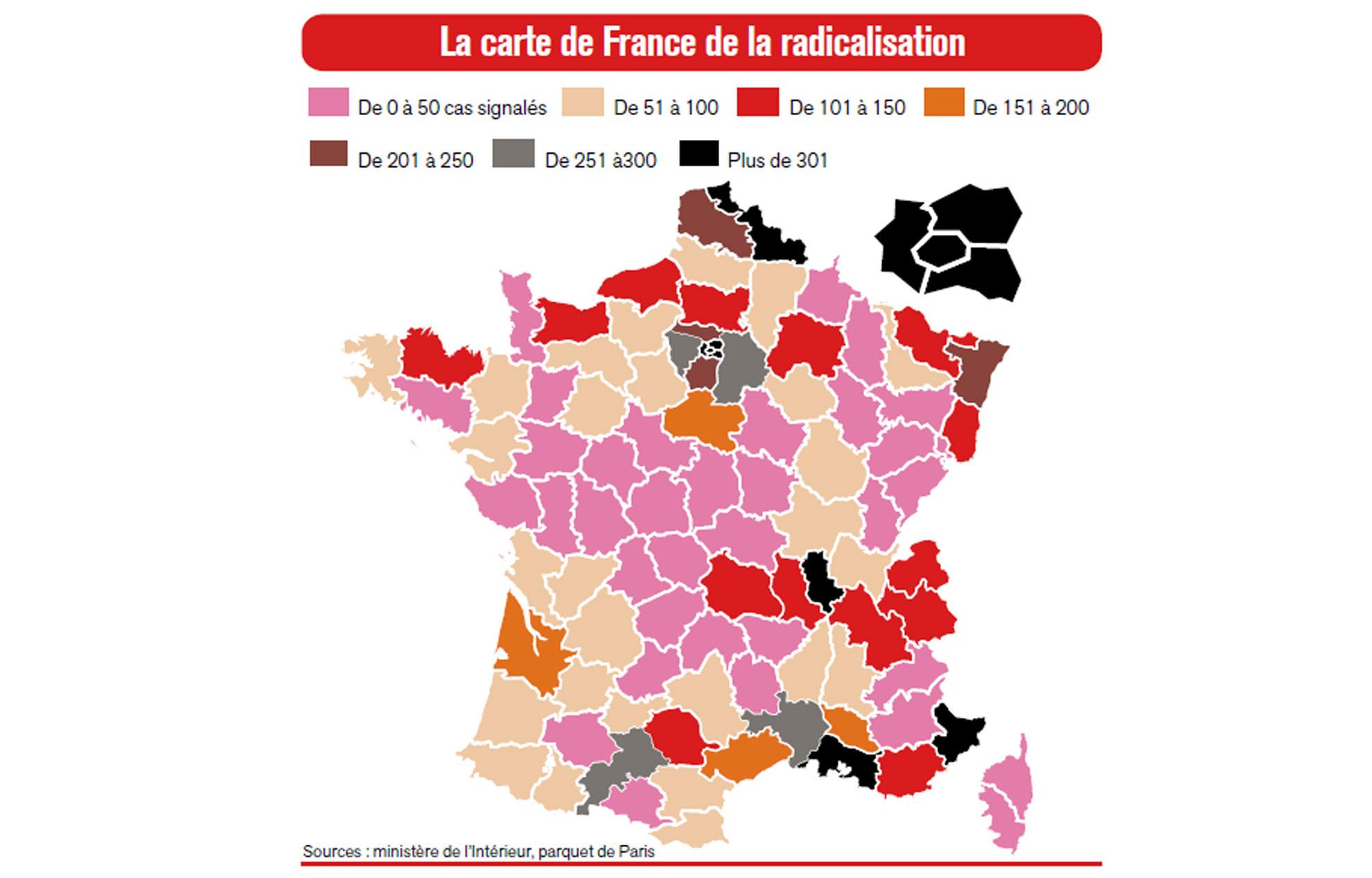 La Carte De France De La Radicalisation Islamique dedans Combien De Departement En France