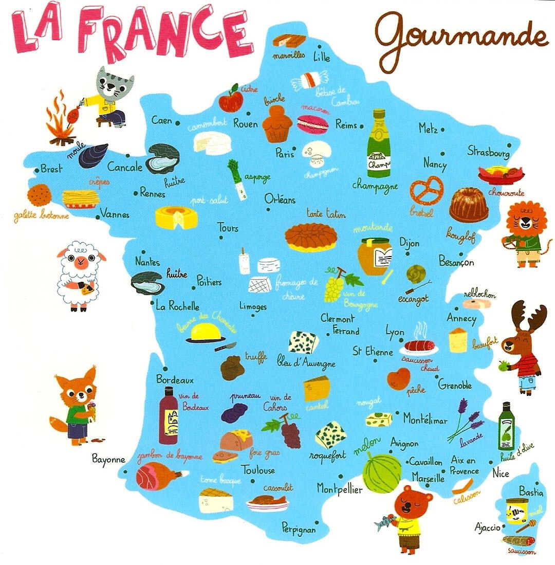 La Carte De France Des Spécialités Gastronomiques | Blog avec Carte De France Ludique