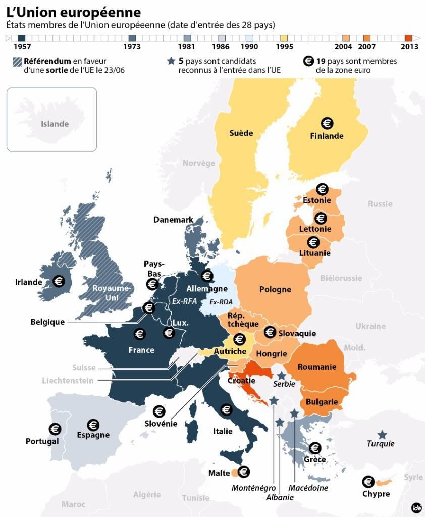 La Carte De La Construction De L'union Européenne - Boursorama à Carte De L Union Europeenne
