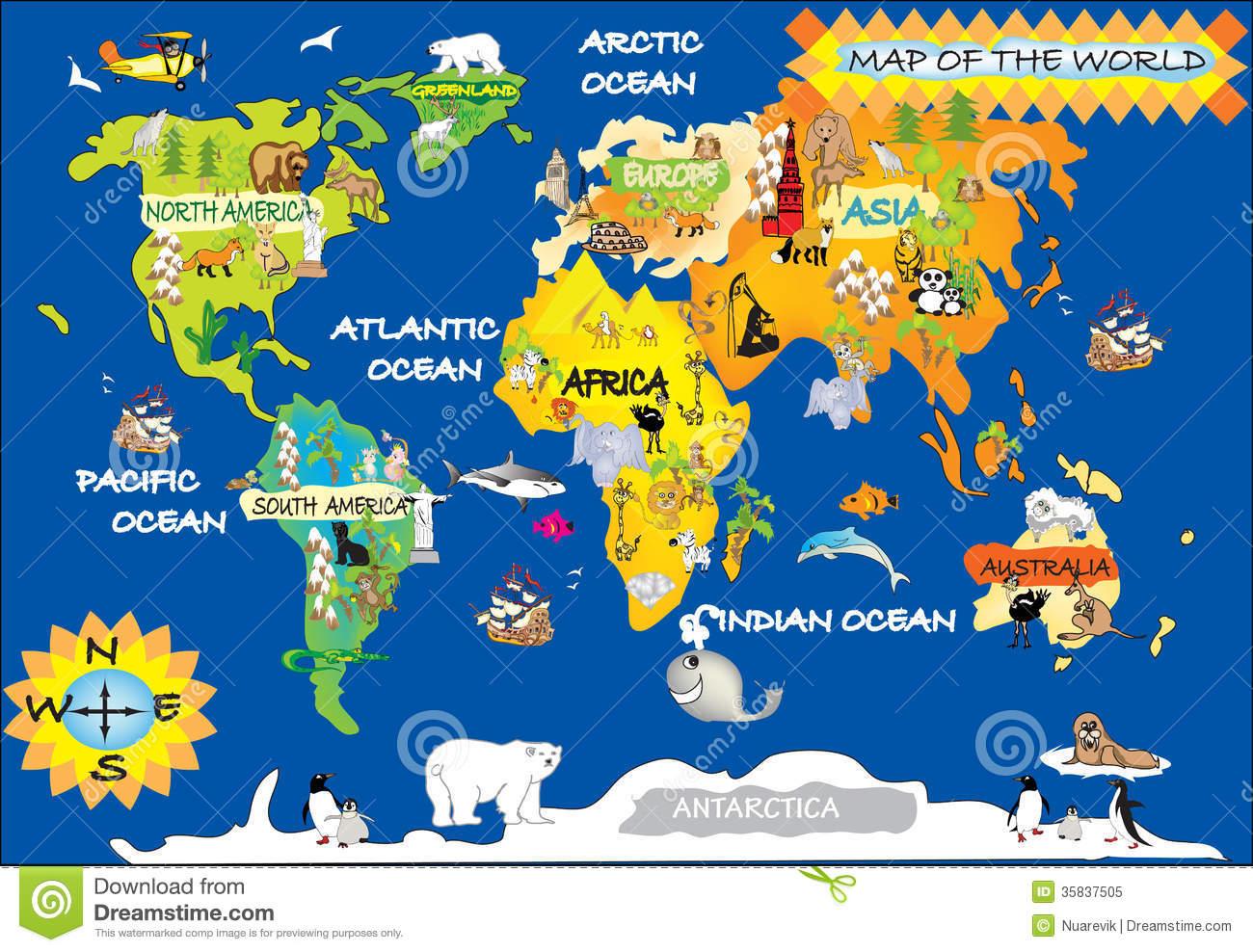 La Carte De L'enfant Du Monde Illustration Stock serapportantà Carte Europe Enfant