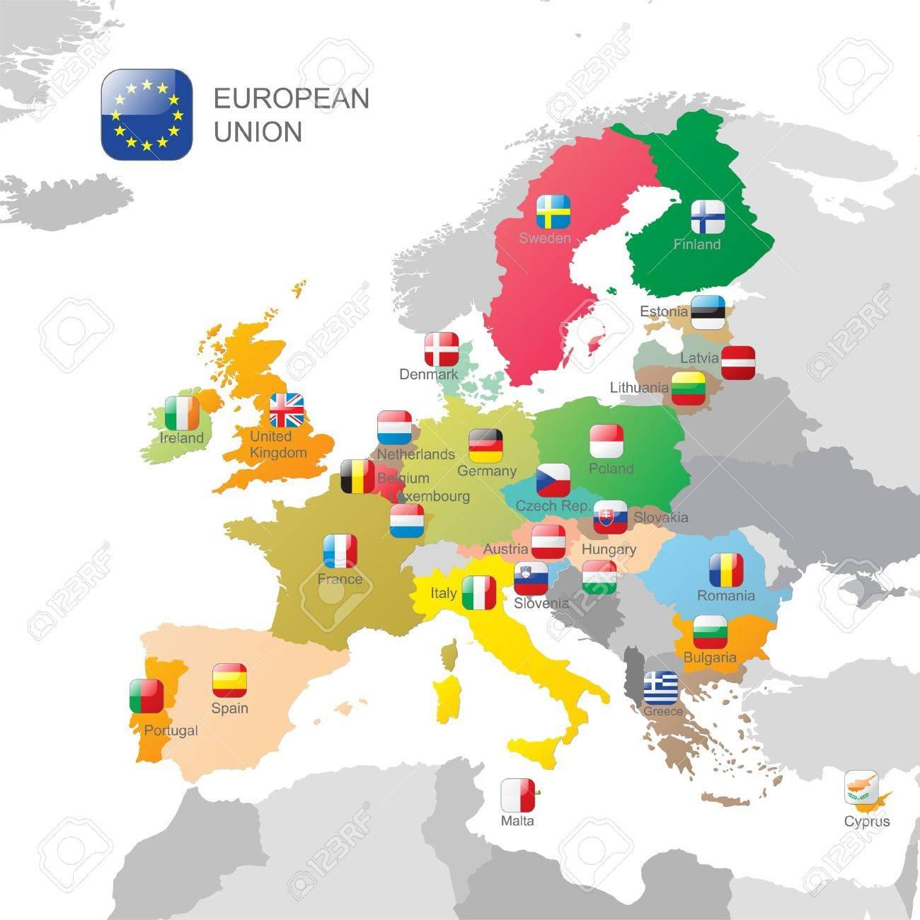 La Carte De L'union Européenne Et Drapeaux à Carte De L Union Europeenne