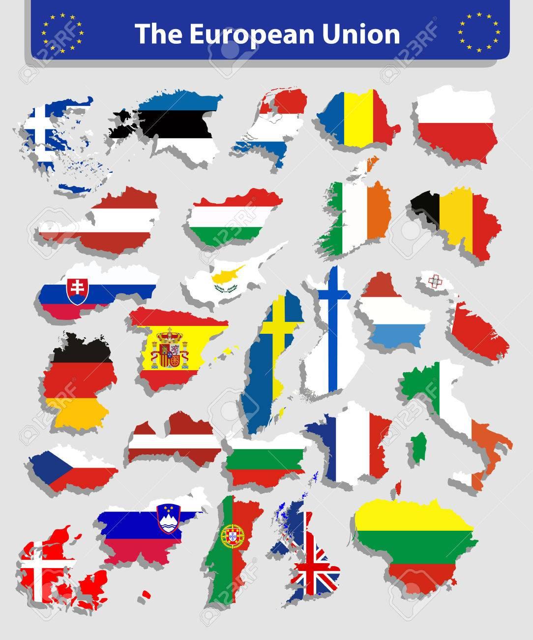 La Carte De L'union Européenne Et Tous Les Pays Drapeaux Des Pays Membres  De L'union Européenne Superposées Sur Fond De Carte à Carte Pays Union Européenne
