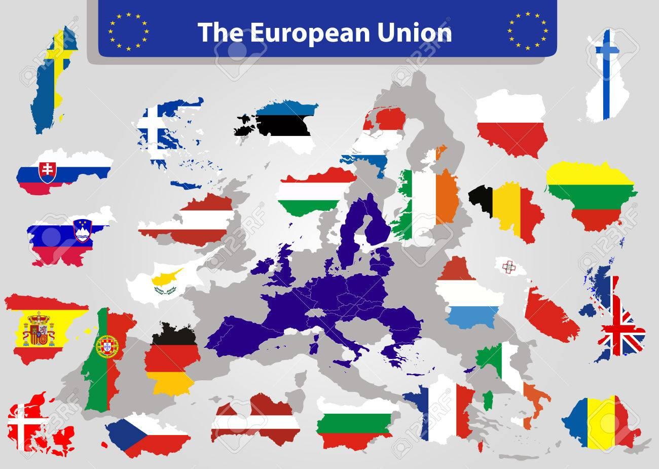 La Carte De L'union Européenne Et Tous Les Pays Drapeaux Des Pays Membres  De L'union Européenne Superposées Sur Fond De Carte avec Carte Pays Union Européenne