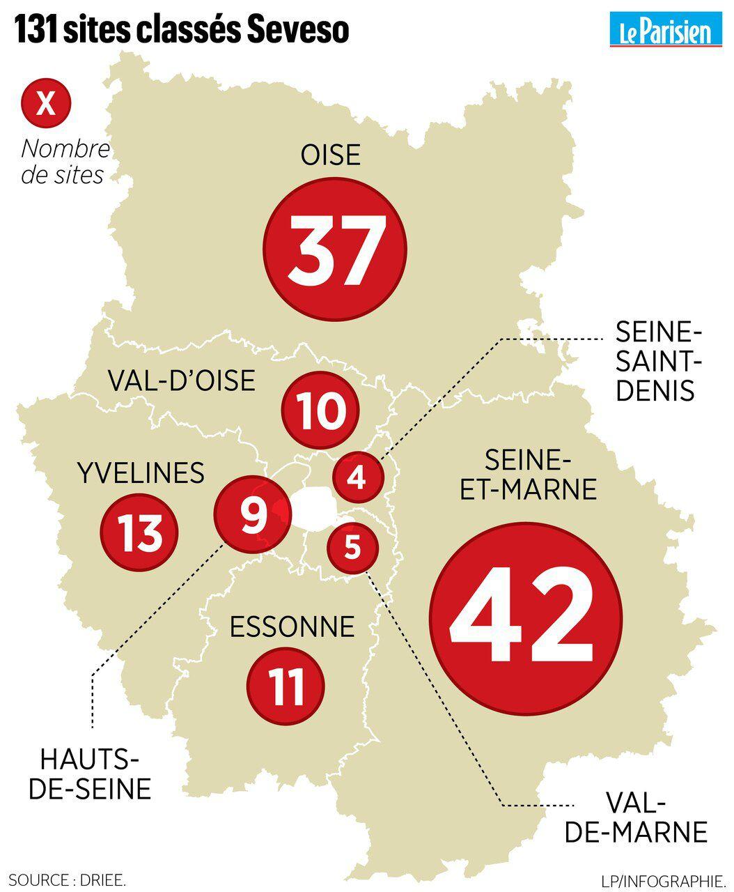 La Carte Des 131 Sites Seveso En Ile-De-France Et Dans L à Liste Des Régions Françaises