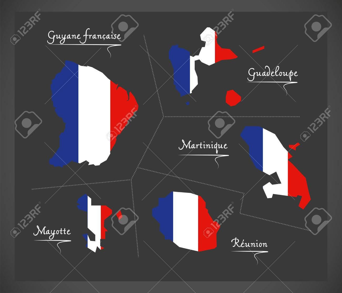 La Carte Des Départements D'outre-Mer Français Avec L'illustration Du  Drapeau National Français destiné Département D Outre Mer Carte
