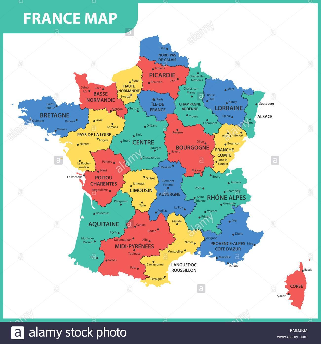 La Carte Détaillée De La France Avec Les Régions Ou États Et serapportantà Carte De France Avec Les Villes