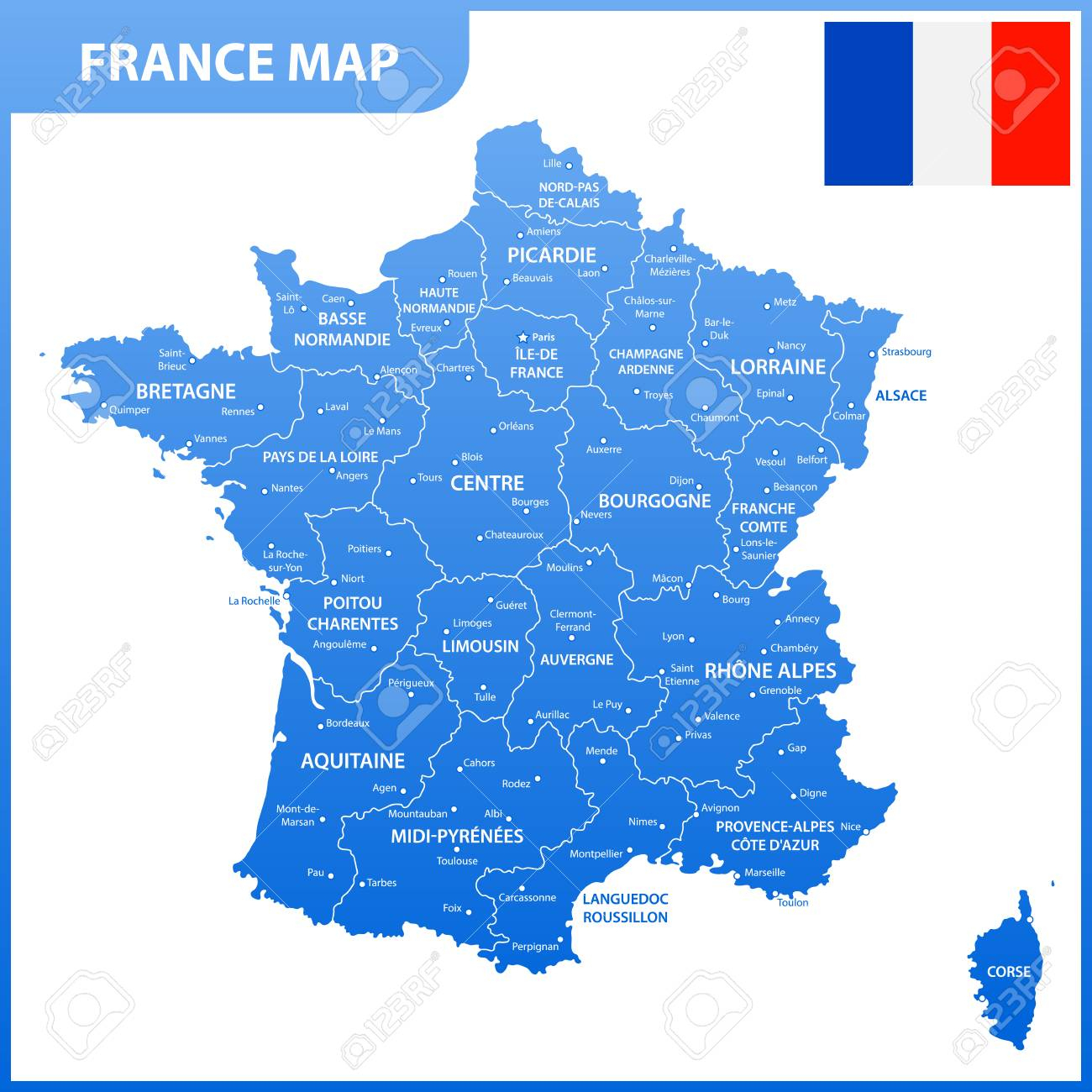 La Carte Détaillée De La France Avec Les Régions Ou Les États Et Les  Villes, La Capitale, Le Drapeau National avec Carte De La France Avec Les Régions