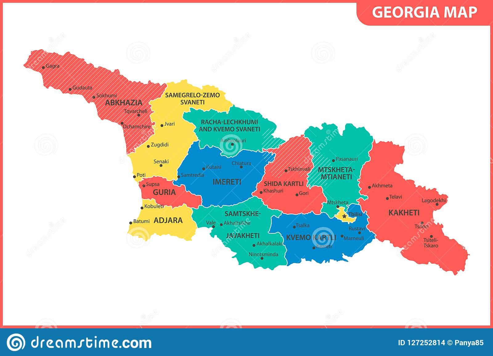 La Carte Détaillée De La Géorgie Avec Des Régions Ou Des pour Carte Europe Avec Capitale