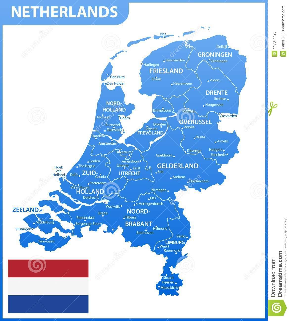 La Carte Détaillée Des Pays-Bas Avec Des Régions Ou Des avec Carte Europe Pays Et Capitale