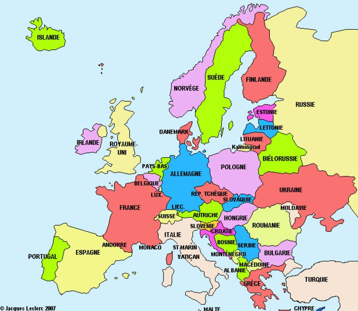 La Carte D'europe Et Ses Pays + Activités - Le Blog Du Cours à Carte Des Pays D Europe
