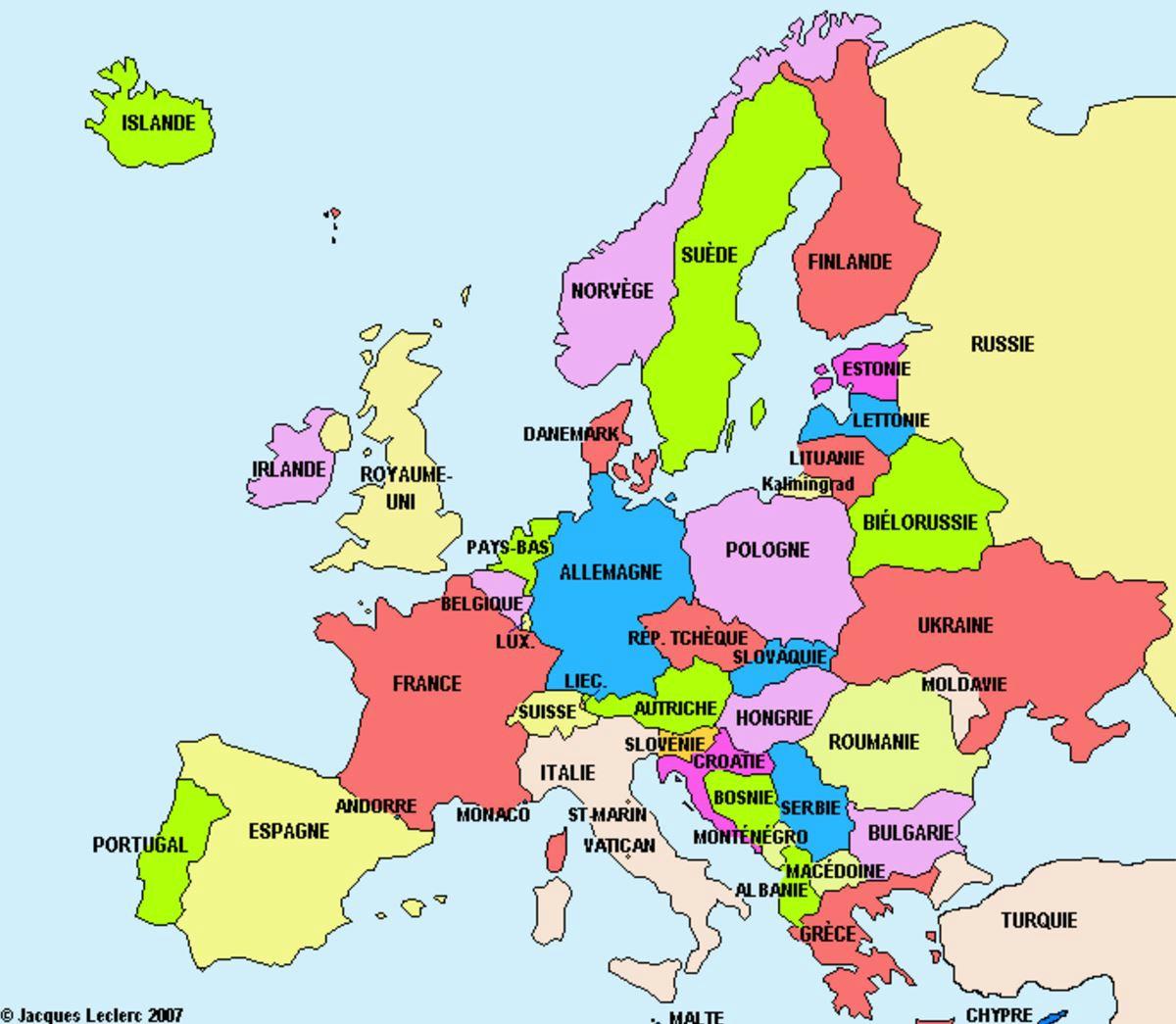 La Carte D'europe Et Ses Pays + Activités - Le Blog Du Cours tout Carte Europe 2017