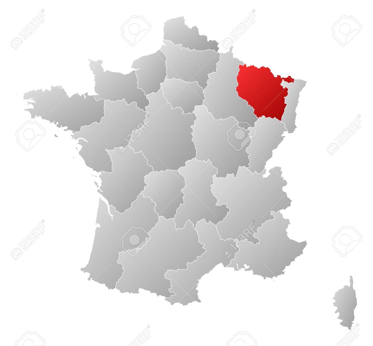 La Carte Politique De La France Avec Les Régions Où Plusieurs Lorraine Est  Mis En Évidence. encequiconcerne Carte De France Avec Les Régions