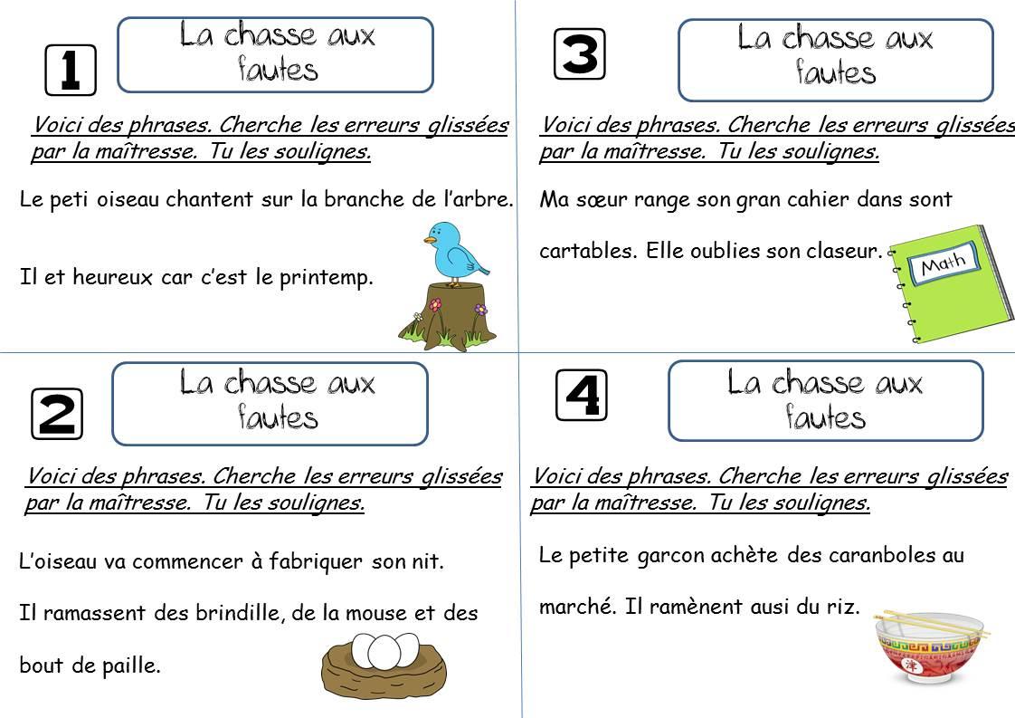 La Chasse Aux Fautes Ce1 - La Classe De Corinne avec Trouver Les Erreurs À Imprimer