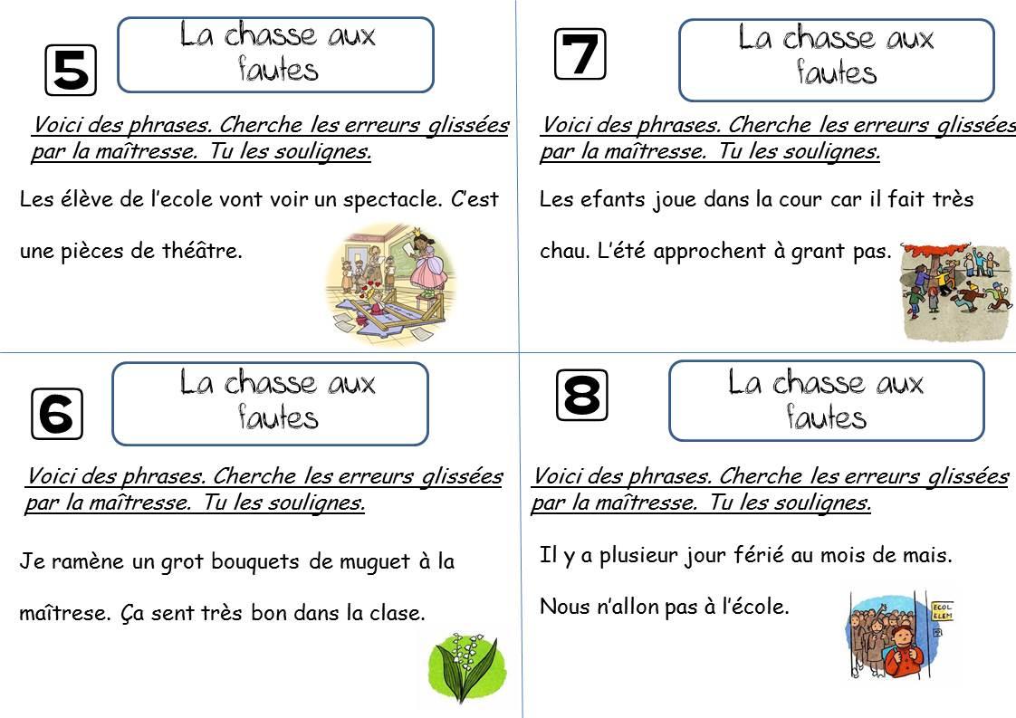 La Chasse Aux Fautes Ce1 - La Classe De Corinne dedans Trouver Les Erreurs À Imprimer