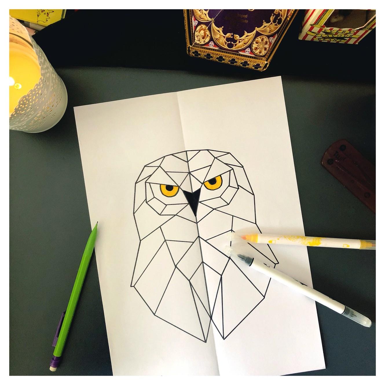 La Chouette Hedwige Symétrique 📐 avec Arts Visuels Symétrie