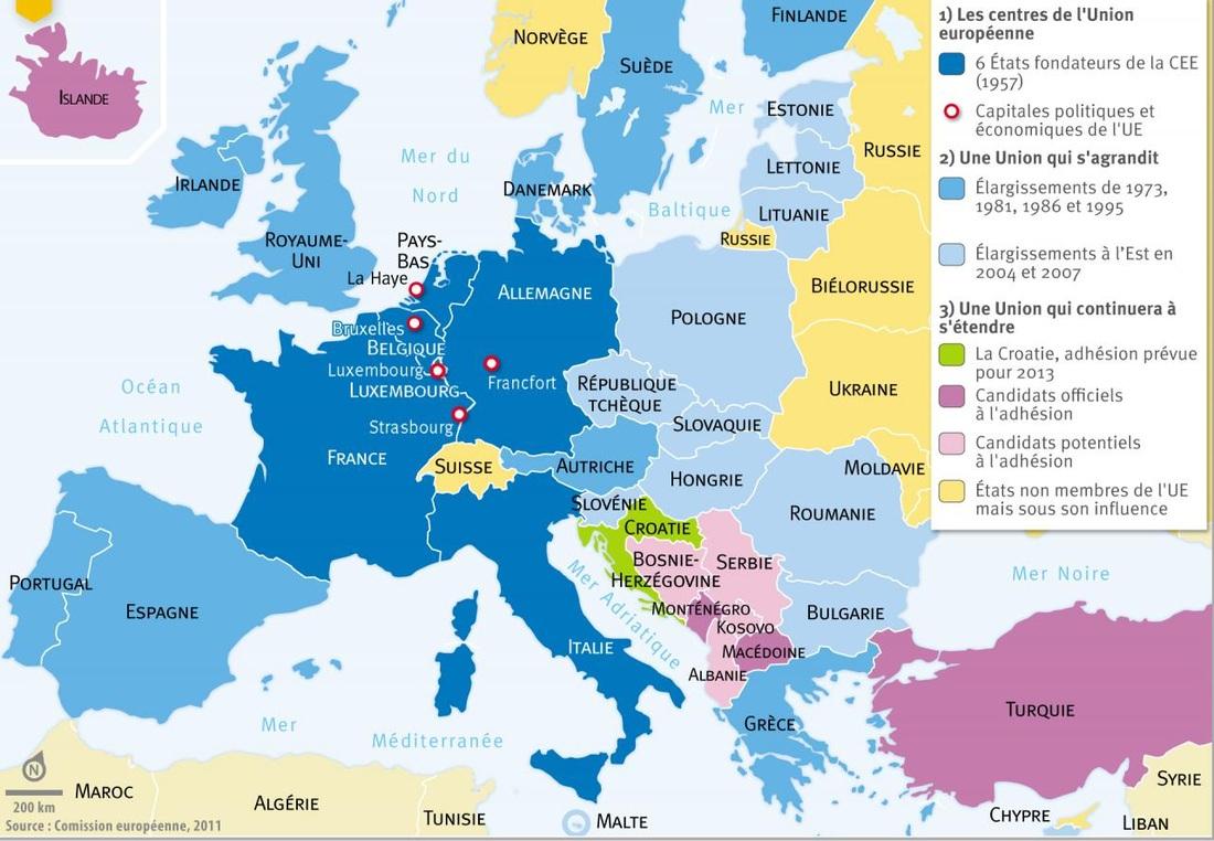 La Construction Europeenne - Troisiemes dedans Carte Construction Européenne