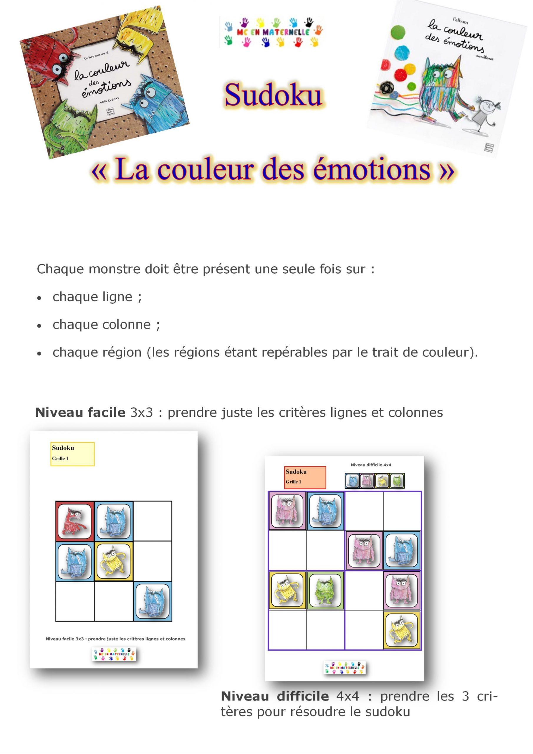 La Couleur Des Émotions : Sudoku (2 Niveaux) – Mc En Maternelle serapportantà Sudoku Pour Enfant