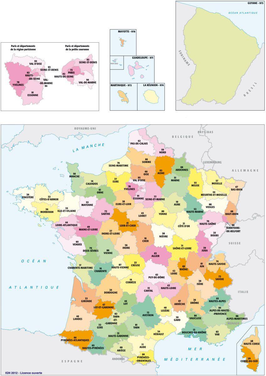 La France, Avec Toponymes Et Contours De Départements tout Carte De France Avec Les Départements