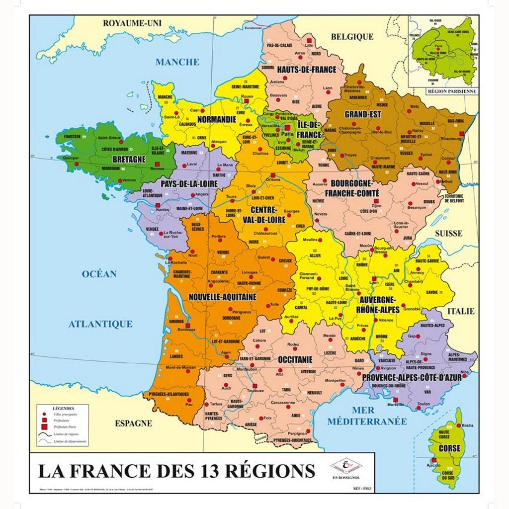 La France Des 13 Régions - Départements/villes intérieur Carte De France Avec Les Villes