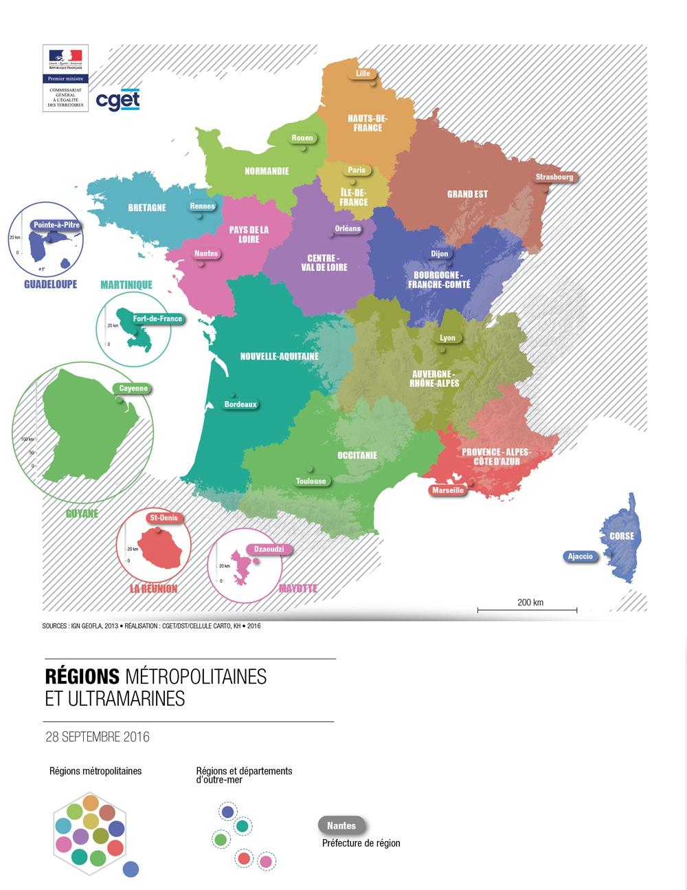 La France Des Nouvelles Régions | Cget avec Carte De France Nouvelles Régions