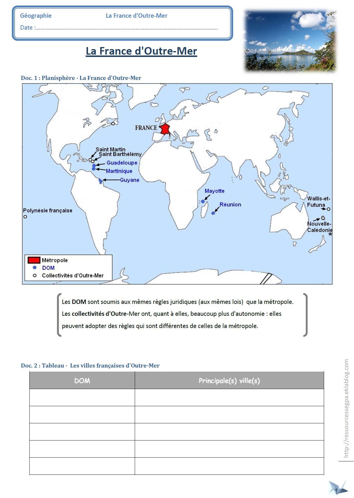 La France D'outre-Mer - Ressources Pour Les Segpa dedans Carte France D Outre Mer