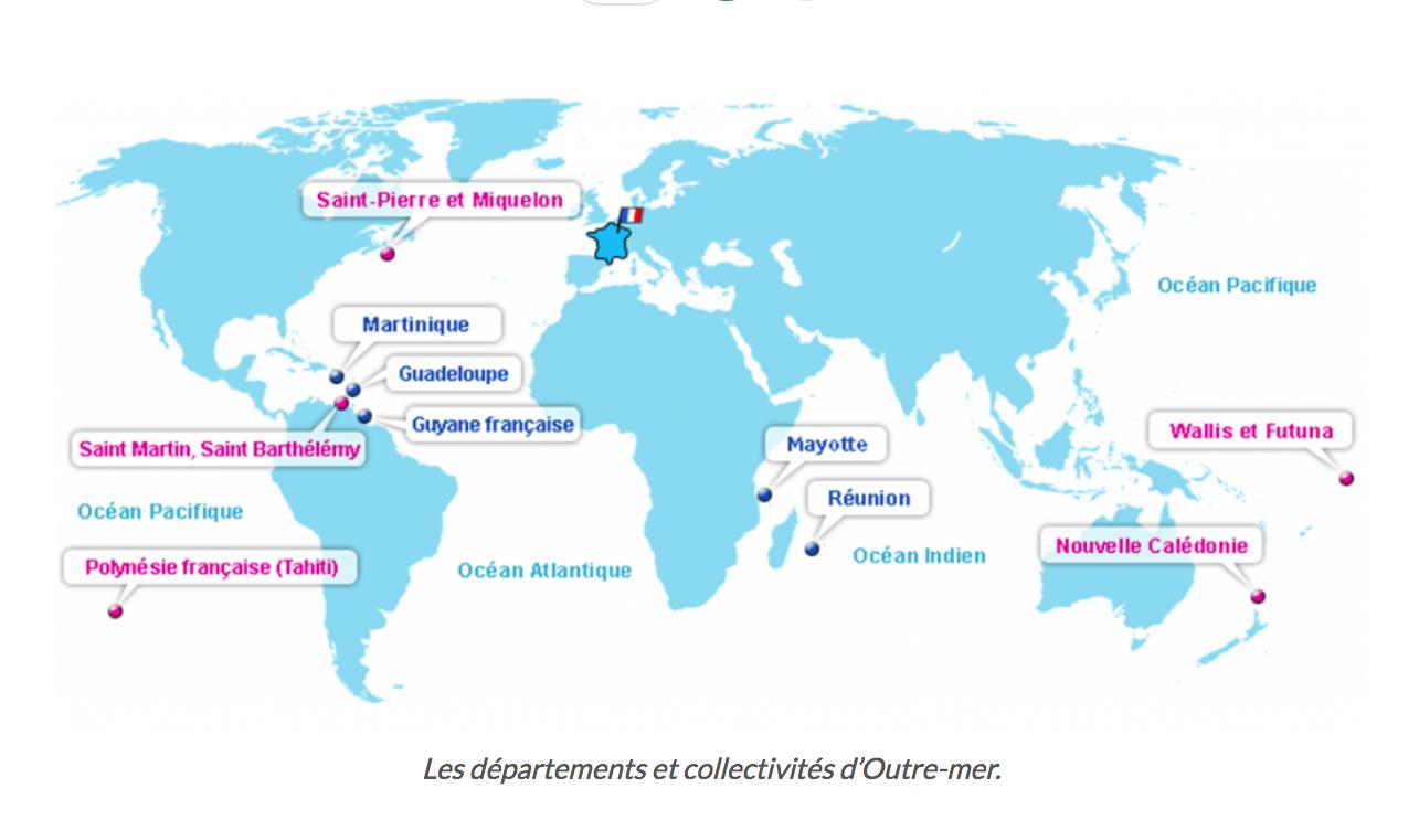 La France Et Les Territoires D'outre Mer | Pourlefrancais serapportantà Département D Outre Mer Carte