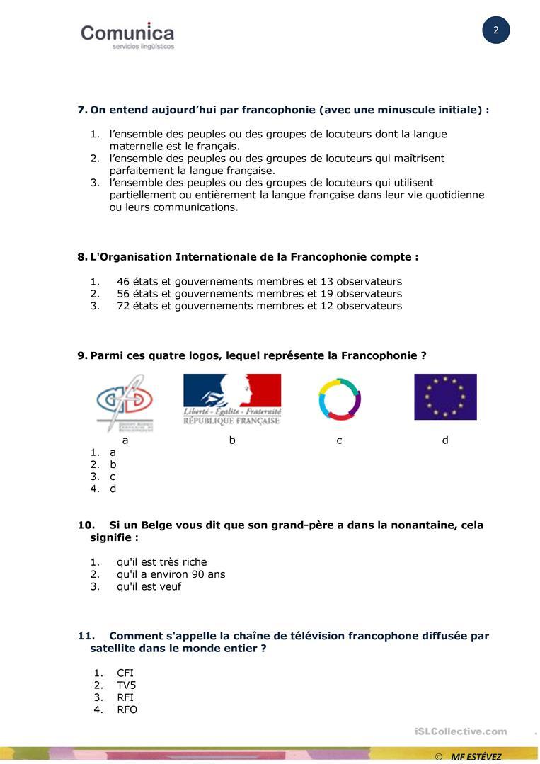 La Francophonie-Quiz - Français Fle Fiches Pedagogiques avec Quizz Pour Maternelle