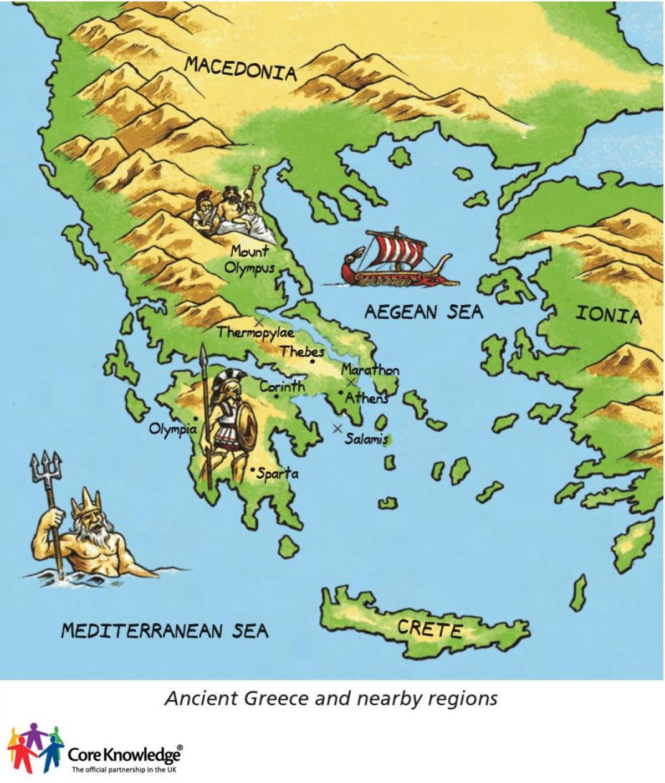 La Grèce Antique Carte Pour Les Enfants - Carte De La Grèce pour Carte Europe Enfant
