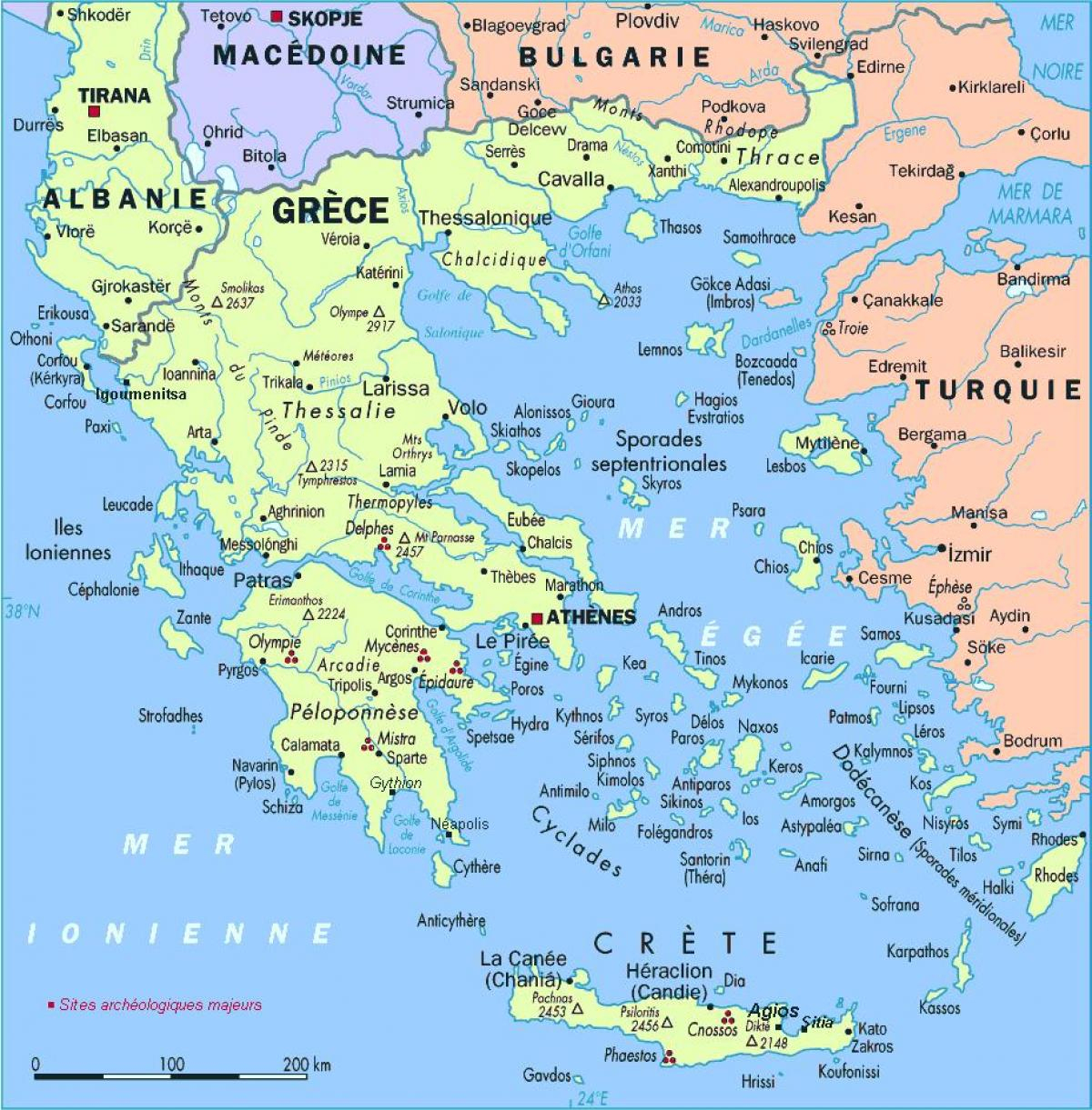 La Grèce Carte - Carte Détaillée De La Grèce (Europe Du Sud concernant Carte De L Europe Détaillée