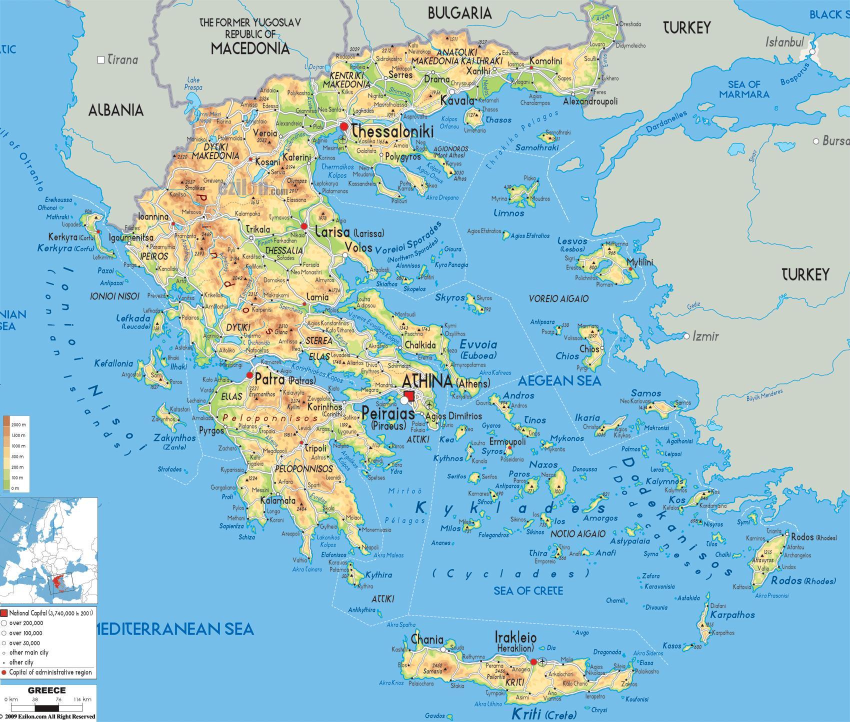 La Grèce Carte Géographique - Carte Géographique De La Grèce intérieur Carte Géographique De L Europe