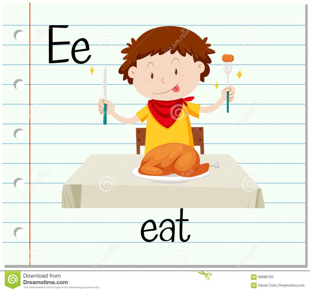 La Lettre E De Flashcard Est Pour Mangent Illustration De destiné Dessin Lettre E