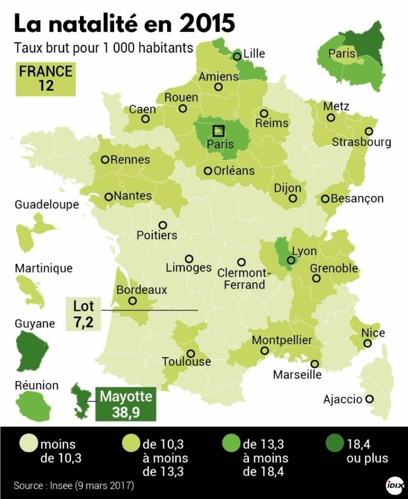 La Natalité En France : La Carte Par Département - Boursorama dedans Carte Départementale De La France