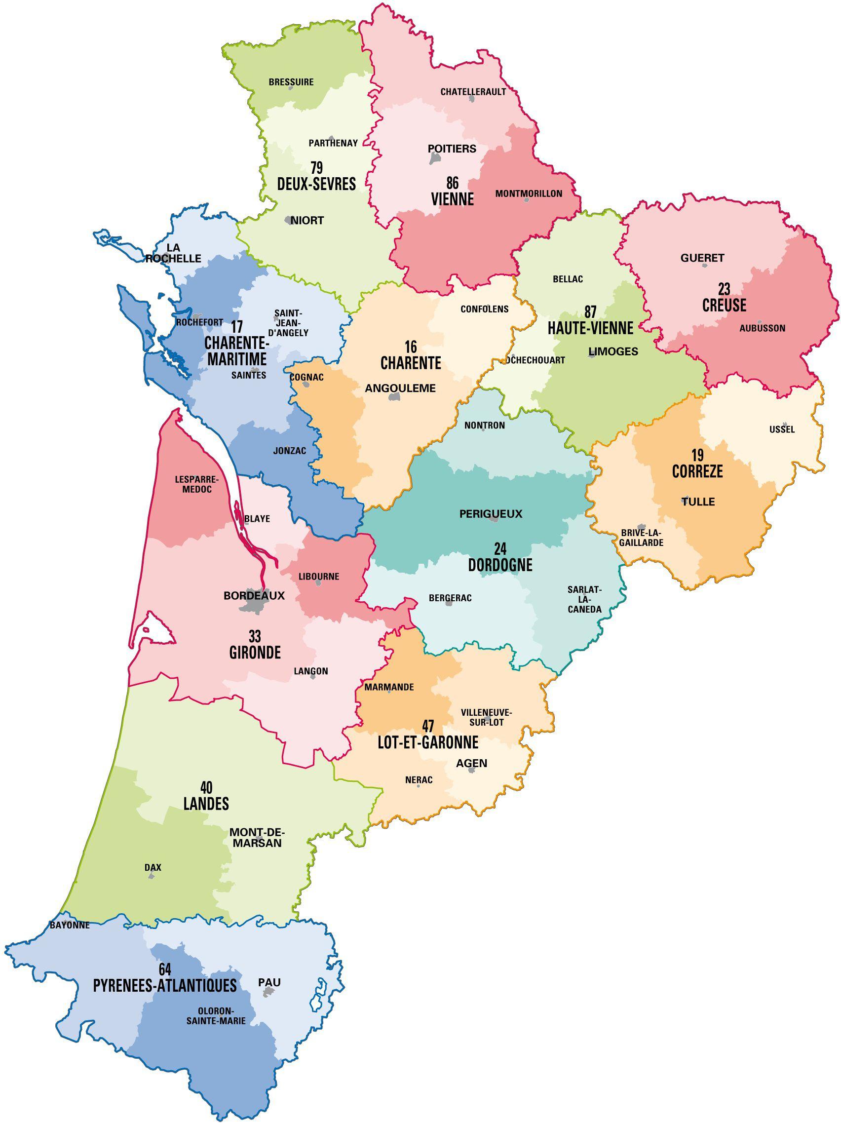 La Nouvelle Aquitaine, Une Région Idéale Pour Préparer Son dedans Carte Nouvelle Region