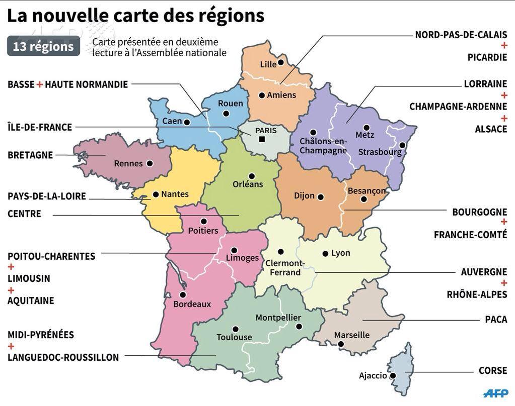 La Nouvelle Carte Des 13 Régions | Carte Des Régions pour Carte Des 13 Régions