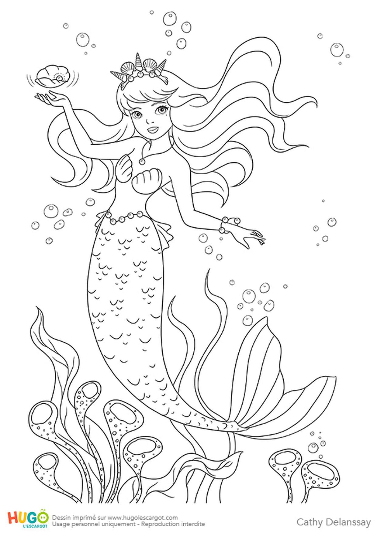 La Petite Sirène destiné La Petite Sirène À Colorier