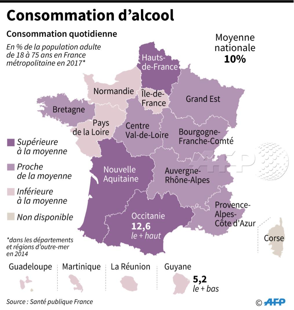 La Région Où L'on Consomme Le Plus D'alcool Quotidiennement à Région Et Département France