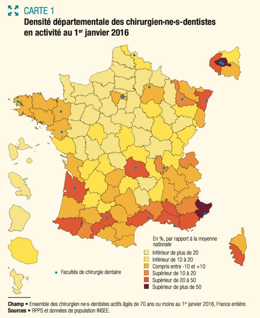 La Répartition Des Chirurgiens-Dentistes Est Inégale Sur Le dedans Carte Des Départements De France 2017