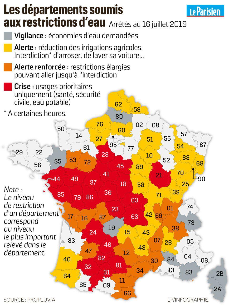 La Sécheresse S'étend, 61 Départements En Alerte Ou En Crise encequiconcerne Numéro Des Départements