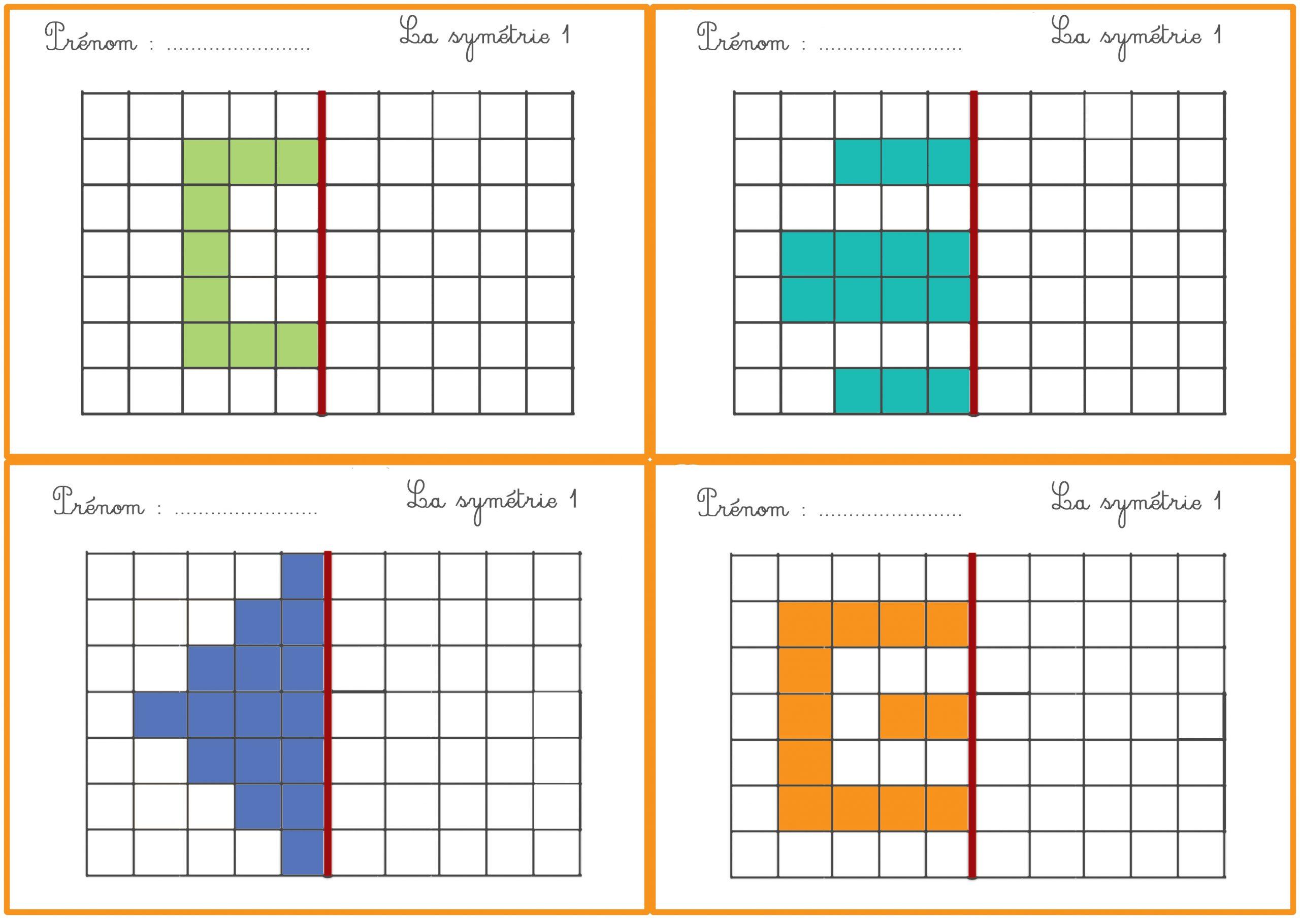 La Symétrie – Fiches Exercices Cp/ce1 tout Exercice Symétrie Ce1