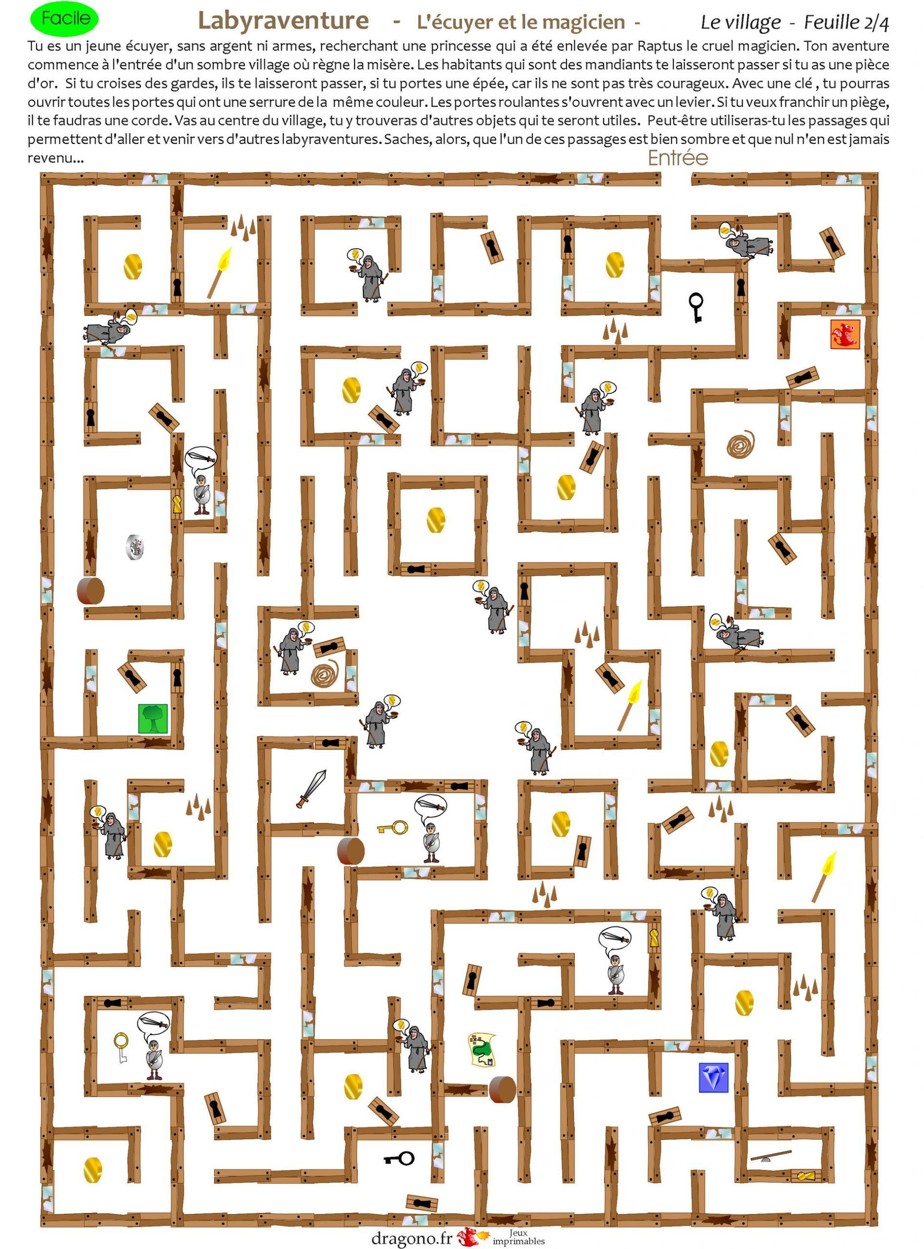 Labyrinthe À Imprimer Château Chevalier Et Magicien -Jeu À serapportantà Labyrinthes À Imprimer