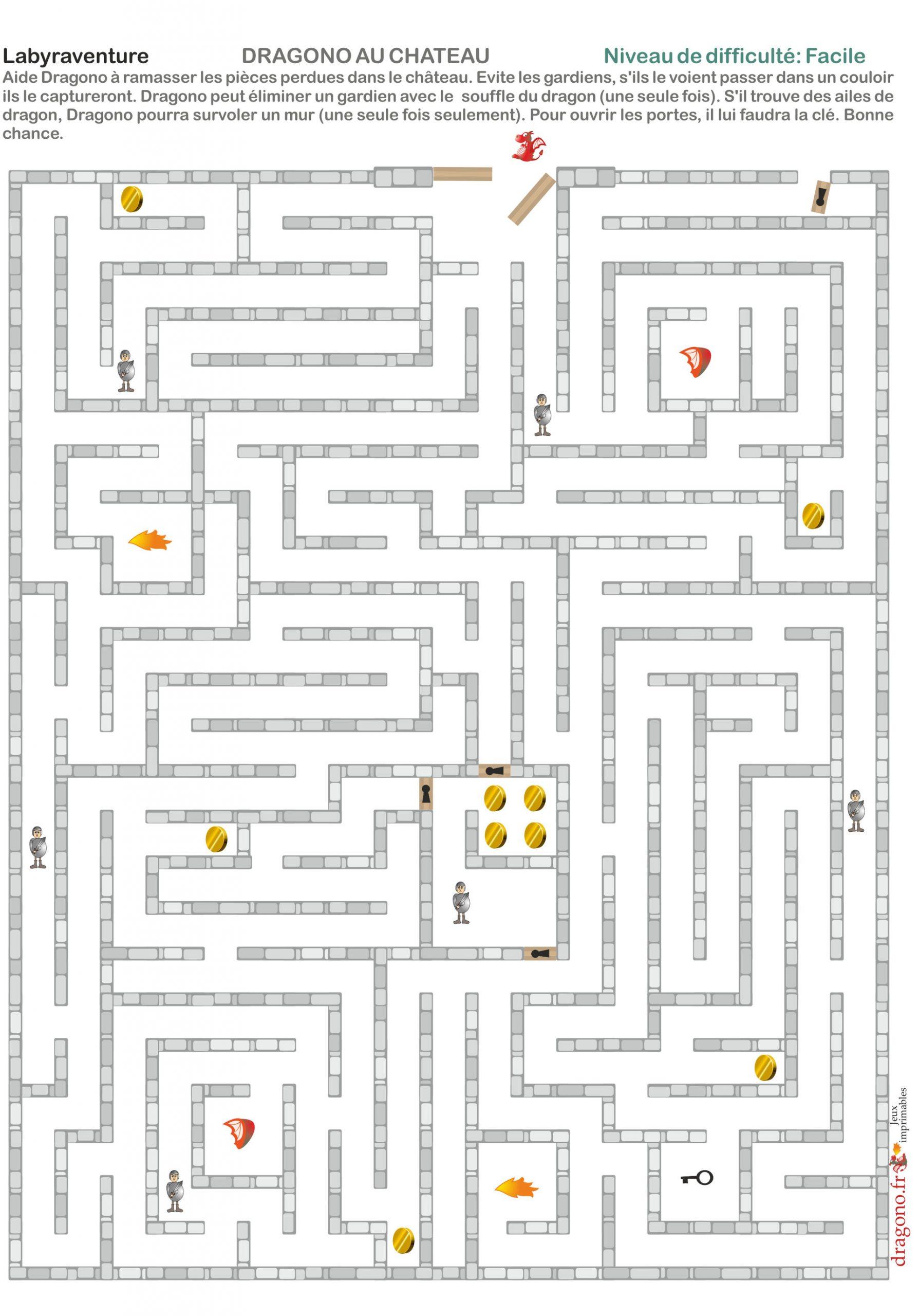 Labyrinthe À Imprimer Médiéval Avec Dragon Et Château dedans Labyrinthe Difficile