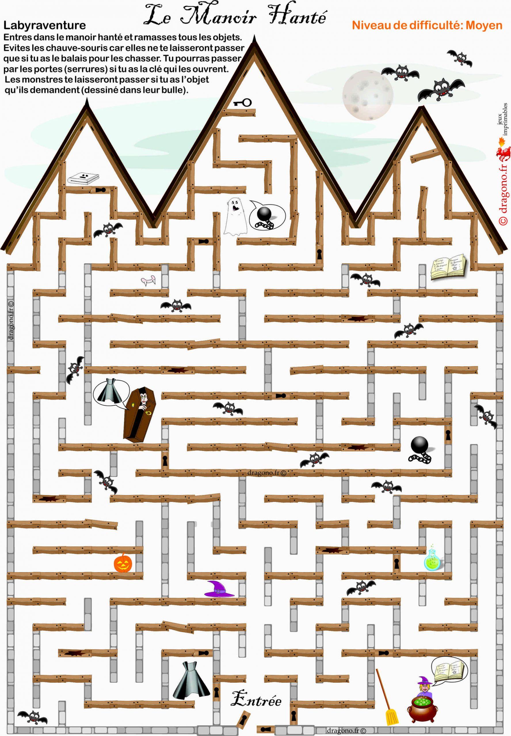 Labyrinthe À Imprimer Pour Halloween - Dragono.fr pour Labyrinthe A Imprimer