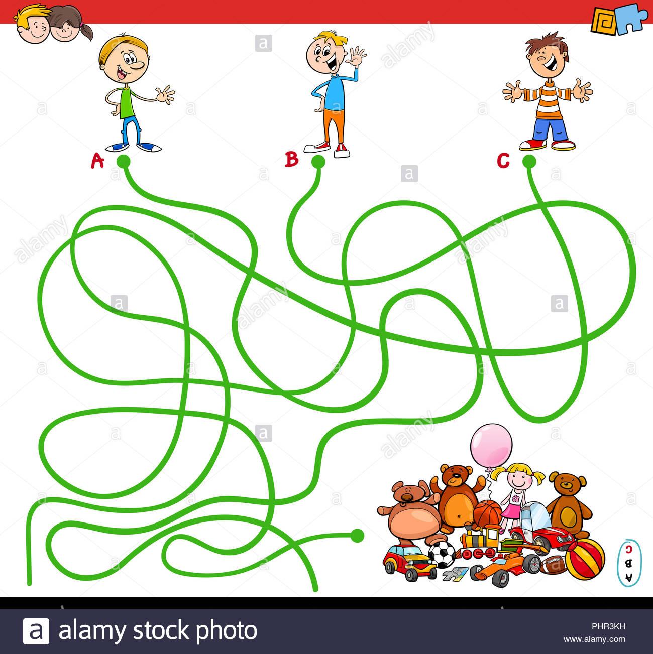 Labyrinthe Avec Des Enfants Et Des Jouets Jeu Éducatif tout Jeux Enfant Educatif