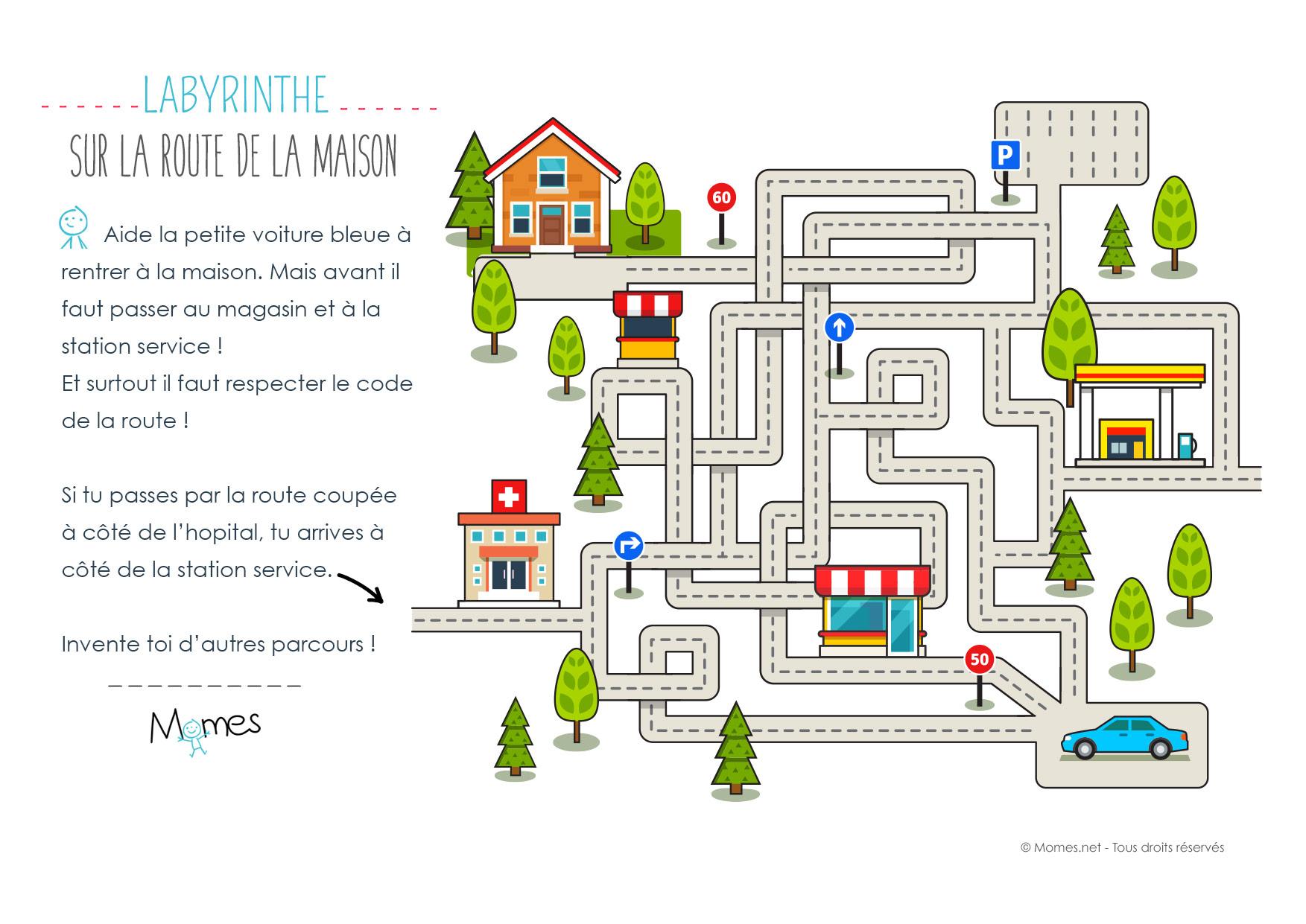 Labyrinthe De La Route - Momes destiné Jeux À Imprimer 6 Ans